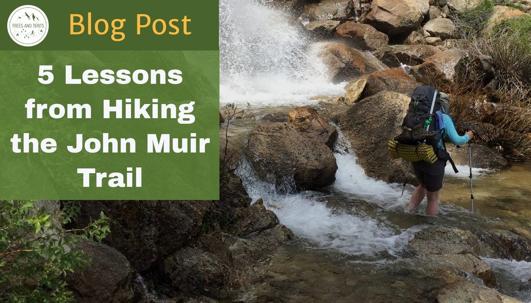 Hiking through a waterfall on the John Muir Trail. Five lessons from hiking the John Muir Trail
