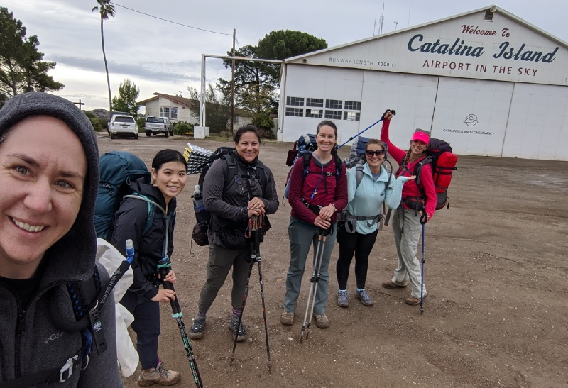 A group of women backpacking the Trans-Catalina Trail