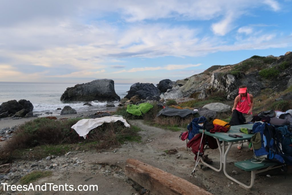 Drying out our tents after a night of rain on Catalina Island's Trans-Catalina Trail