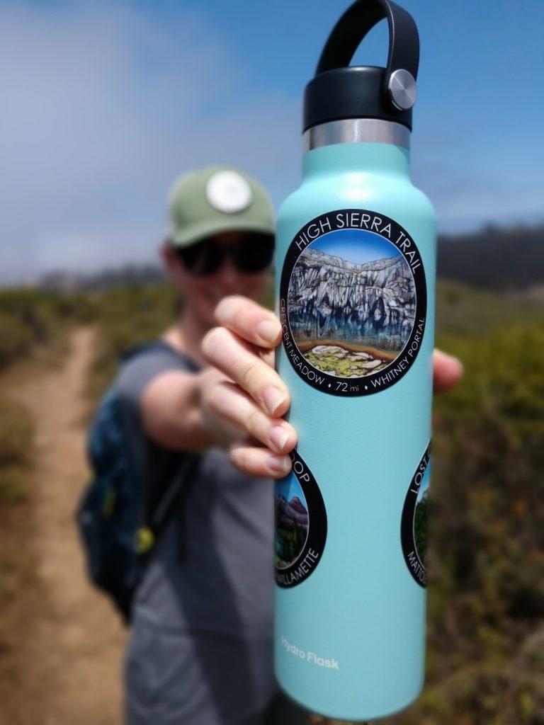 High Sierra Trail sticker on a 24 ounce water bottle