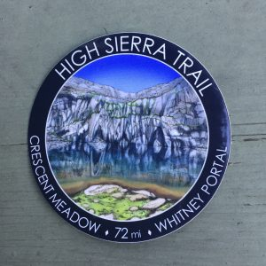 High Sierra Trail Sticker, 3-inch round sticker, waterproof and weatherproof