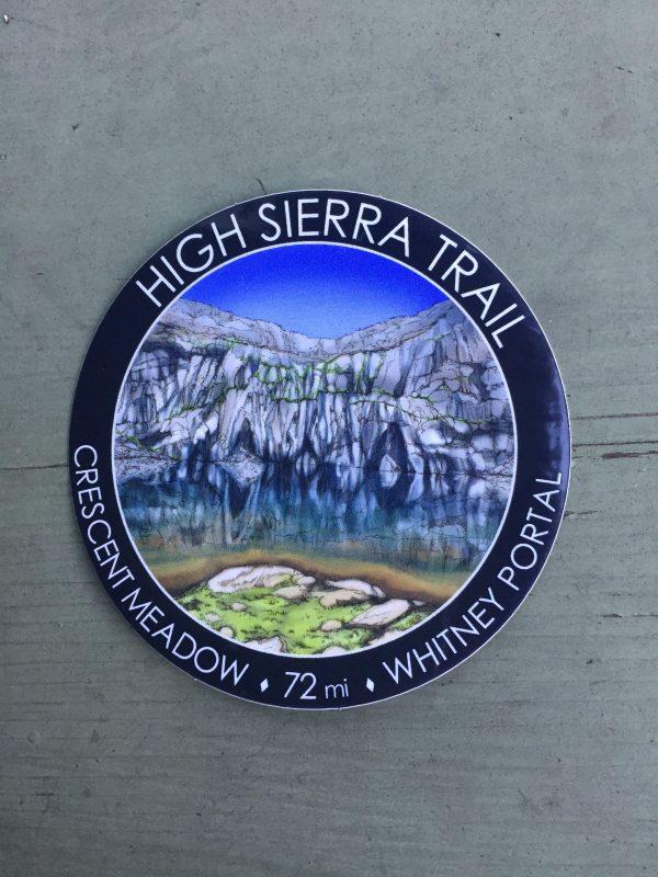 High Sierra Trail Sticker, 3-inch round sticker, waterproof and weatherproof