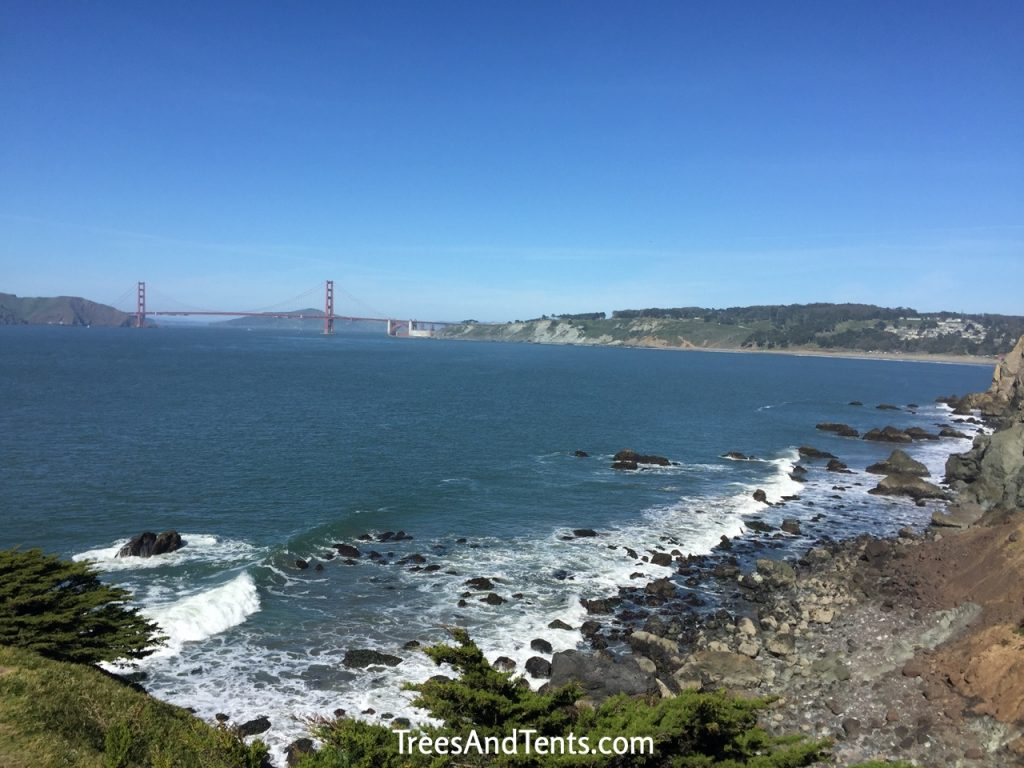 The Lands End Trail in San Francisco is a dog-friendly hiking trail with spectacular views of the Golden Gate Bridge.