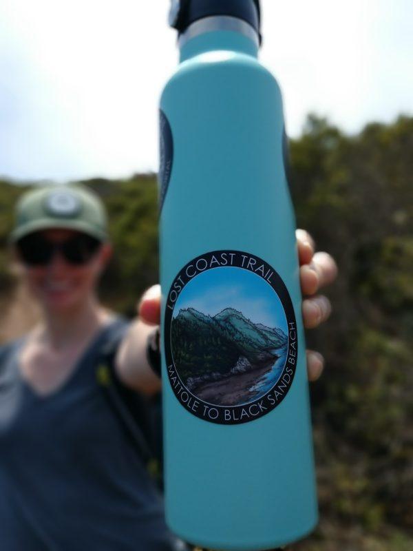 Lost Coast Trail sticker on a 24 ounce water bottle