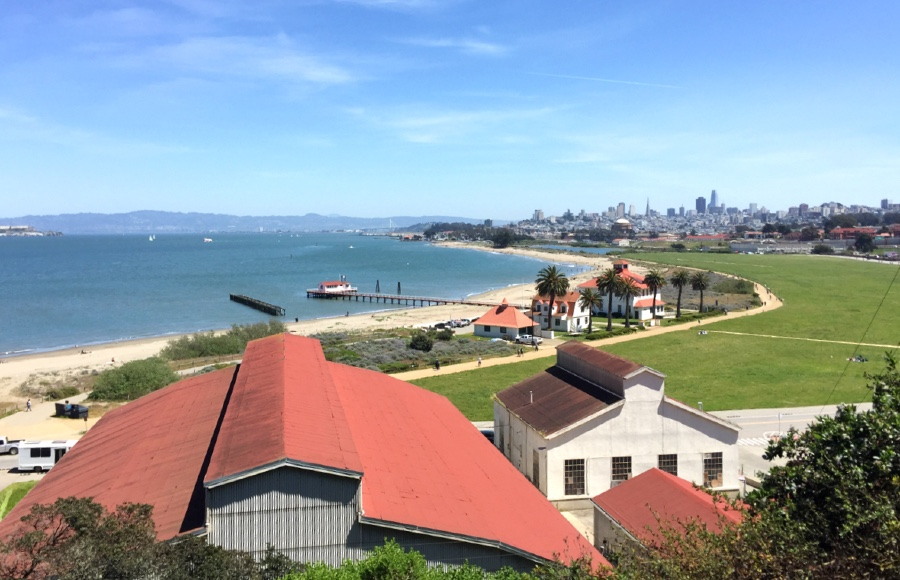 View of Crissy Field from one of the Presidio hiking trails