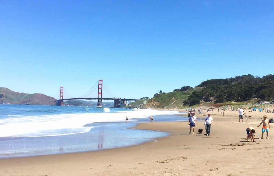 Baker Beach with a view of the Golden Gate Bridge in the background