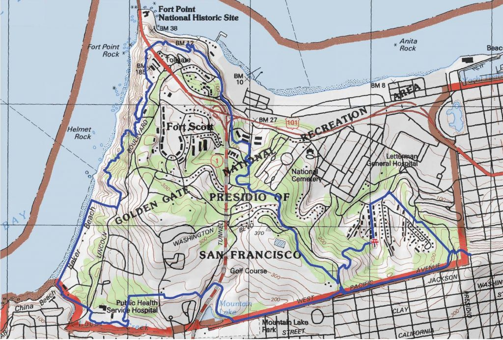 Route for the 8.4 mile Presidio hike