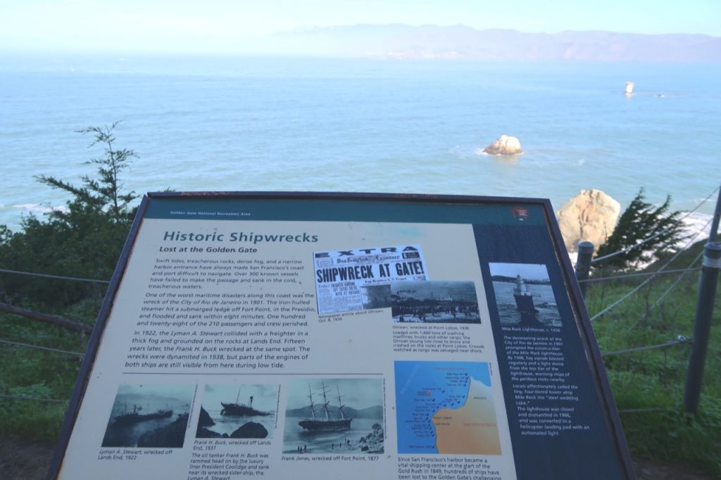 A sign board at Lands End talks about the Mile Rock Lighthouse and all of the shipwrecks that happened in the San Francisco Bay