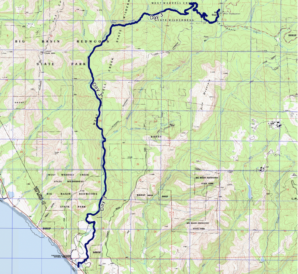 Trail map for Skyline to the Sea Day 3 from Jay Camp to Waddell Beach.