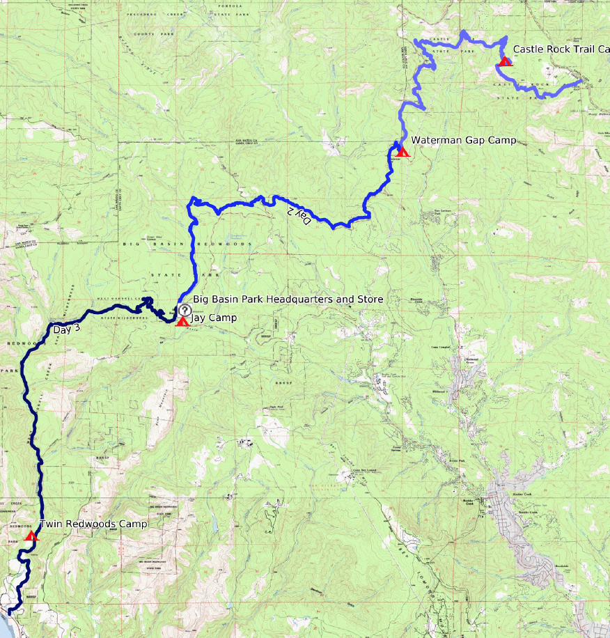 Trail map for 28 miles on the Skyline to the Sea Trail in Big Basin and Castle Rock State Parks.