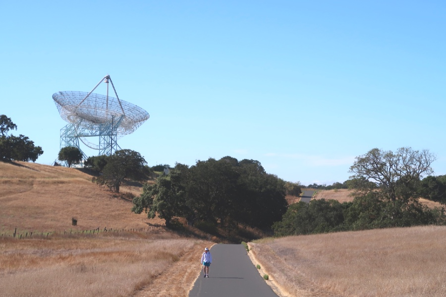 A woman walks along the Stanford Dish Trail