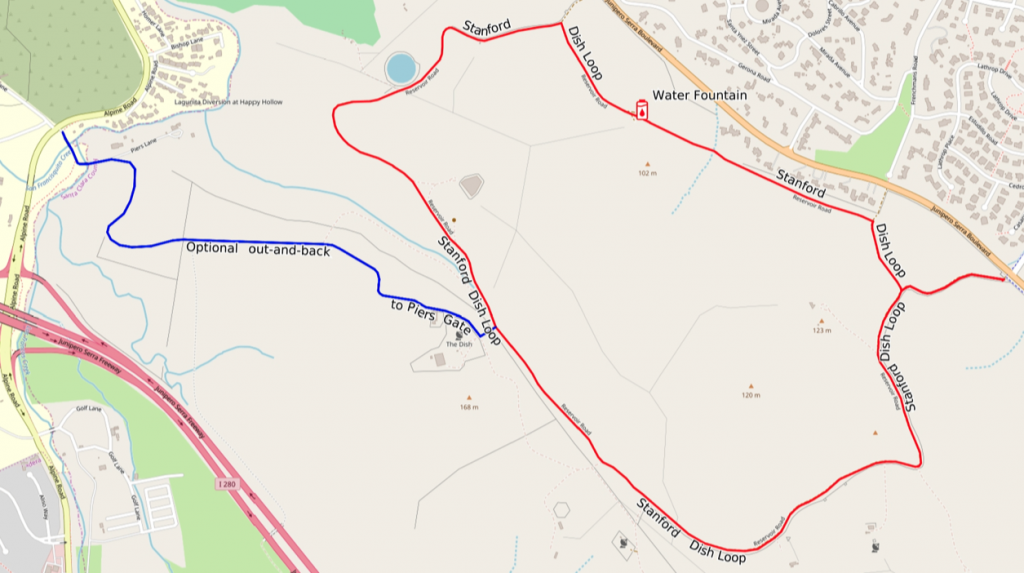 Hiking map for the Stanford Dish Trail, including the optional out-and-back to the Piers Gate