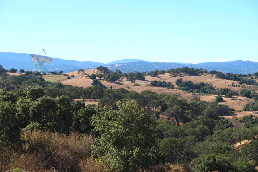 Views of the Stanford radiotelescope from the Stanford Dish Trail.