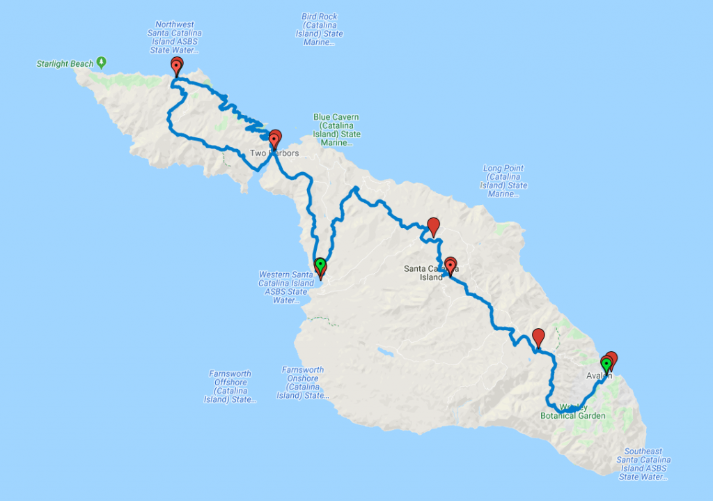 Map of the 38-mile Trans-Catalina Trail