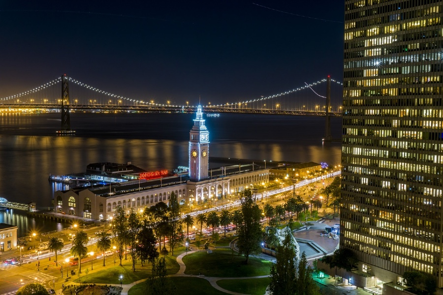 The San Francisco Ferry Building at night and the start of the ferry building to coit tower walk