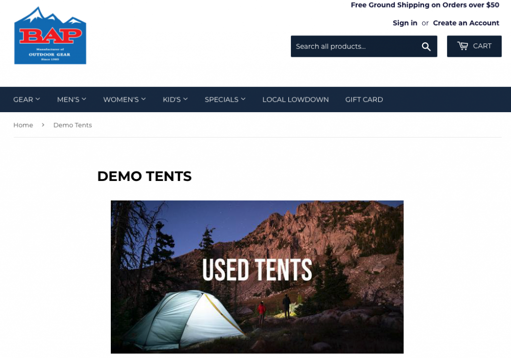 A screenshot of Big Agnes's BAP homepage where they sell all their used tents and other backpacking gear.