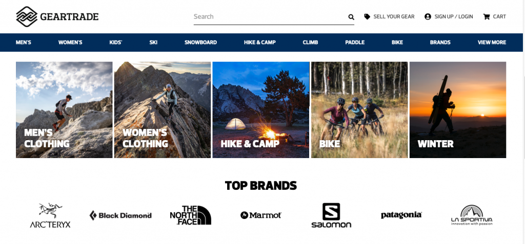 The GearTrade homepage lists some of the quality outdoor brands for used backpacking gear hunters.