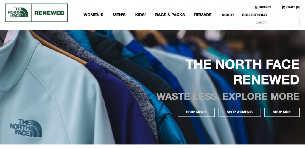 The North Face Renewed website sells used and repaired outdoor clothing.