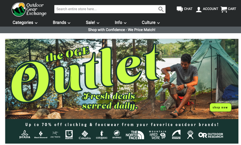Outdoor Gear Exchange home page featuring their outlet store
