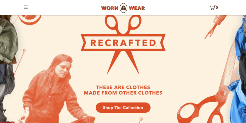 Home page for Patagonia's Worn Wear Recrafted program where people can buy unique used down jackets for backpacking