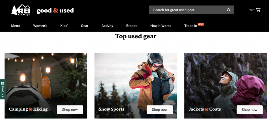 Screenshot of REI's used gear home page.