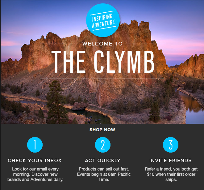 Screenshot of The Clymb's backpacking gear deal sales process.