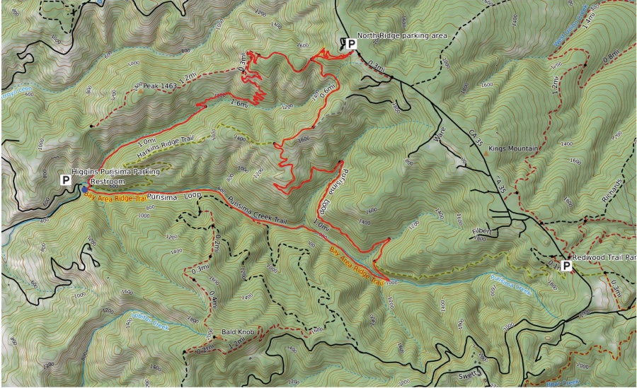 Map of Purisima Creek Redwoods loop. A 9.5 mile hiking trail in the San Francisco Bay Area.