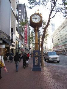 The large clock outside of the Flood Building on Market Street is a remnant of Samuel Jewelers, where Dashiell Hammett worked as a copywriter