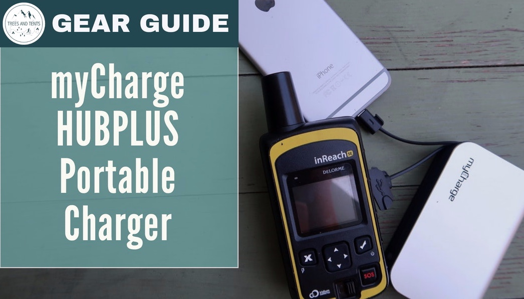 The MyCharge HubPlus portable charger powering an iPhone and an InReach SE