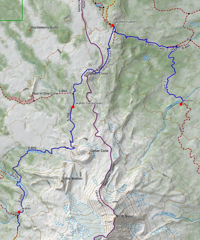 Map of the trail from Alder Creek to the Obsidian Zone in Three Sisters Wilderness