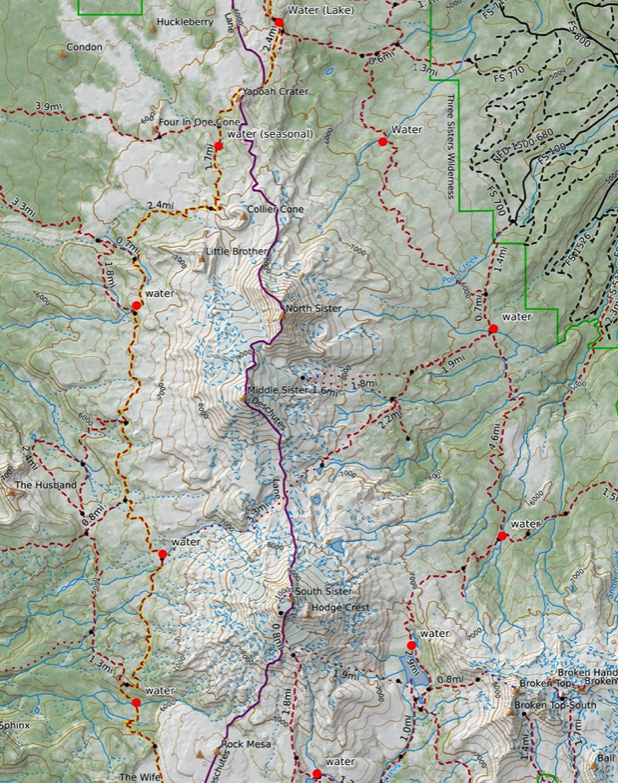 Map of the most reliable water sources for backpackers on the Three Sisters Loop