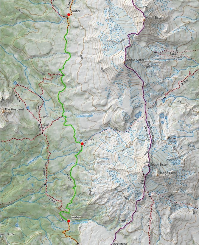 Map of the Three Sisters Wilderness from the Obsidian Limited Entry Area to Mesa Creek