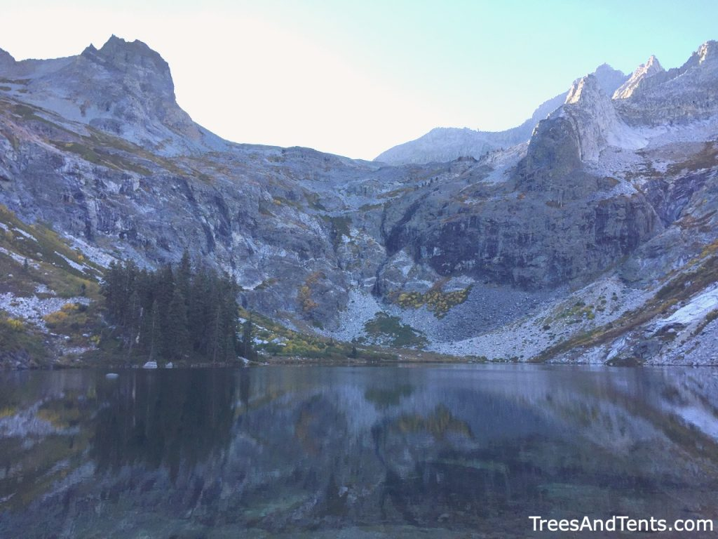 Hikers pass Hamilton Lake on their way to Precipice Lake along the High Sierra Trail