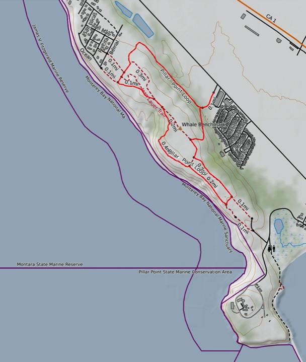 Map of the Pillar Point Bluff Hike in Moss Beach, California.