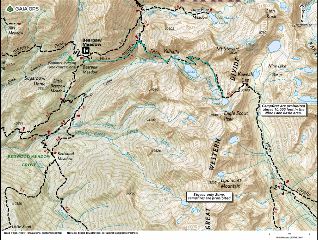 Map showing the High Sierra Trail from Bearpaw Meadow to Precipice Lake