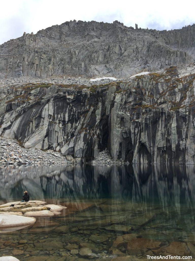 Precipice Lake and the peaks that surround it.