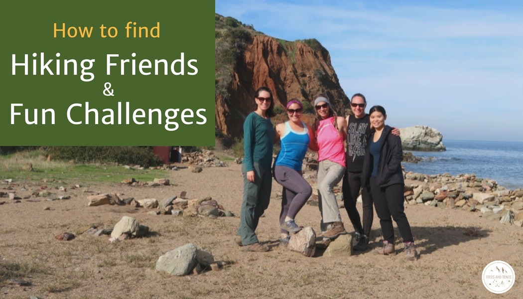 Finding a group of hiking friends or a fun challenge to participate in can take your hiking to the next level. Group of women on a beach.