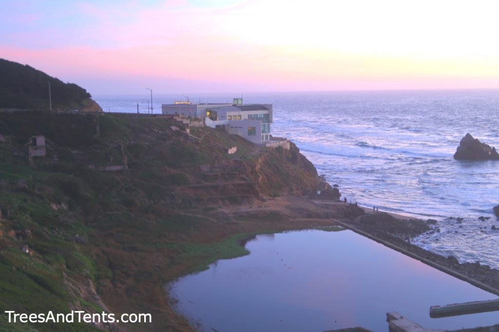 Looking at the Cliff House Restaurant from Sutro Baths.