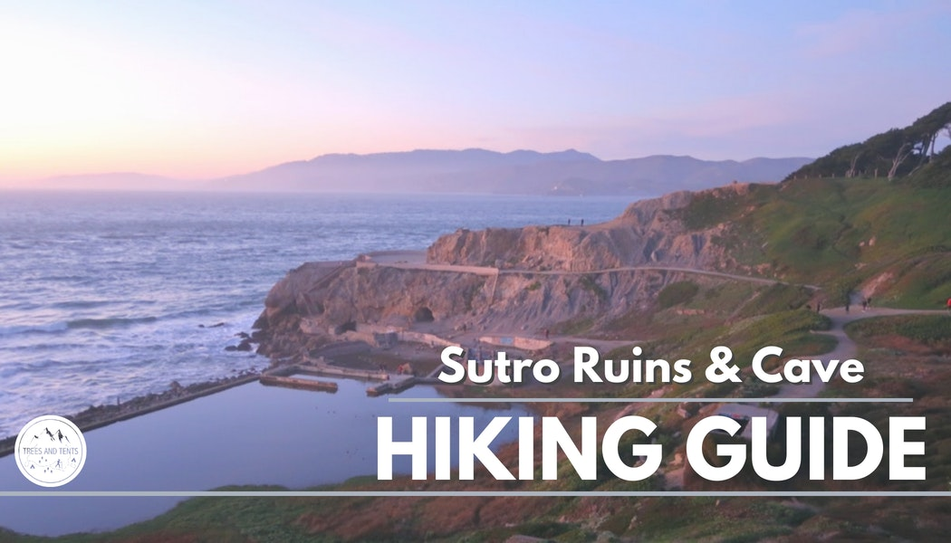 Looking down on the Sutro Baths Ruins and cave, and Point Lobos lookout in San Francisco