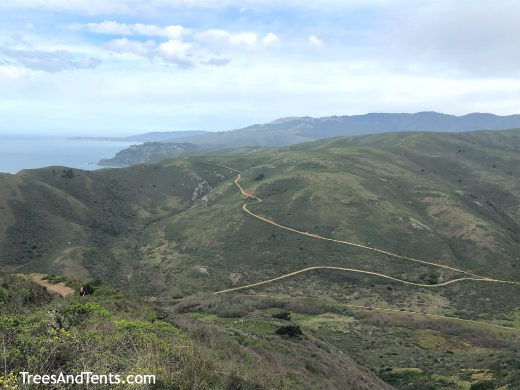 Trails wind along the Marin Headlands. Hikers can backpack to Hawk Camp and Haypress Camp in the headlands