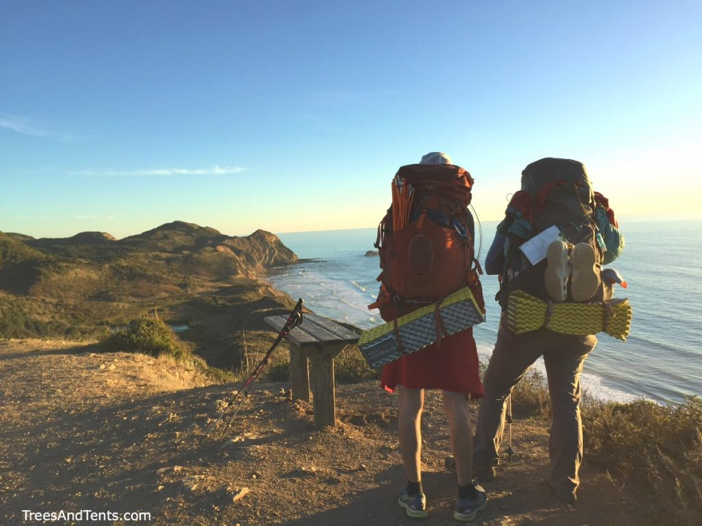 Admiring the view while backpacking Point Reyes Coast Trail to Wildcat Camp