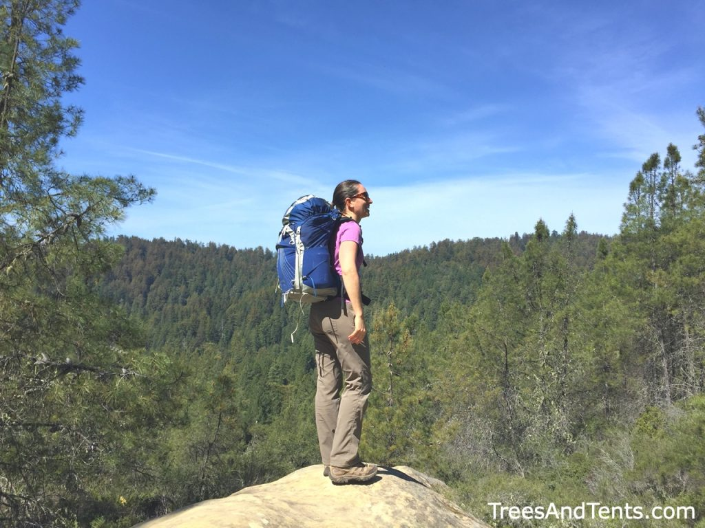 Enjoying the views while backpacking to Lane Camp in Big Basin Redwoods State Park